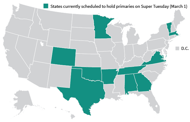 Democratic Super Tuesday Map.
