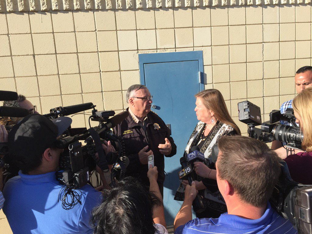 Joe Arpaio likes talking Jane Sanders. (photo from official Maricopa Count Sheriff Twitter account)