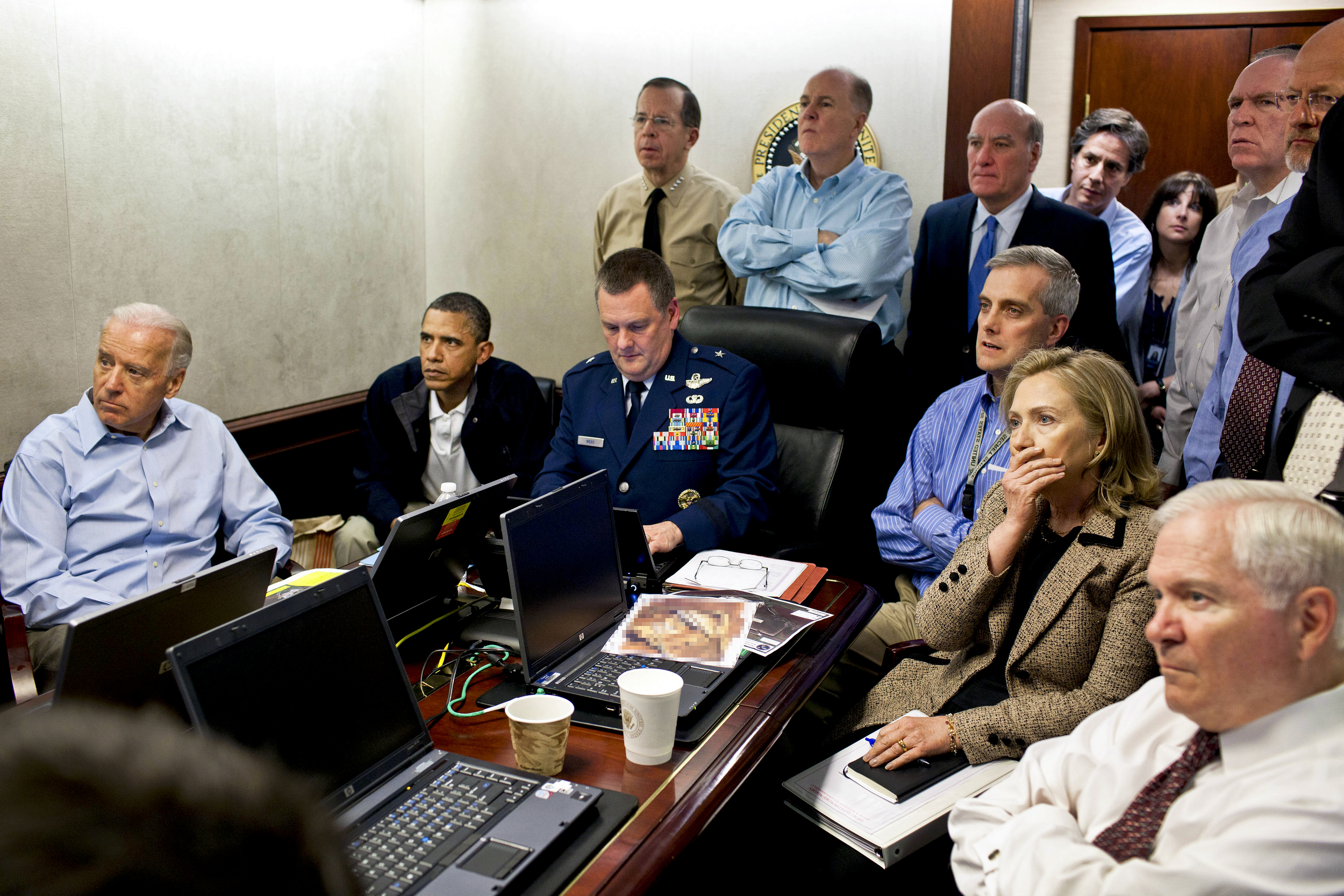 President Obama, Vice President Biden and Secretary Clinton react as US Navy Seals take out bin Laden.
