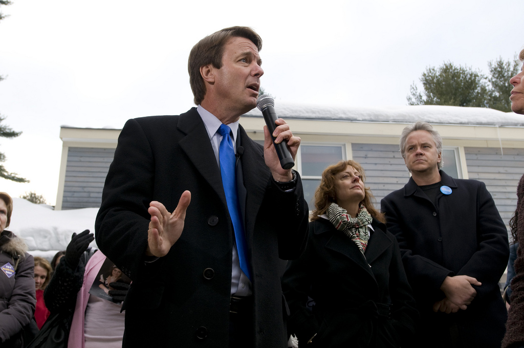 Somehow Sarandon did not find John Edwards' support for the Iraq war so repugnant as she does Hillary Clinton's. Photo attribution: John Edwards (campaign, 2008).