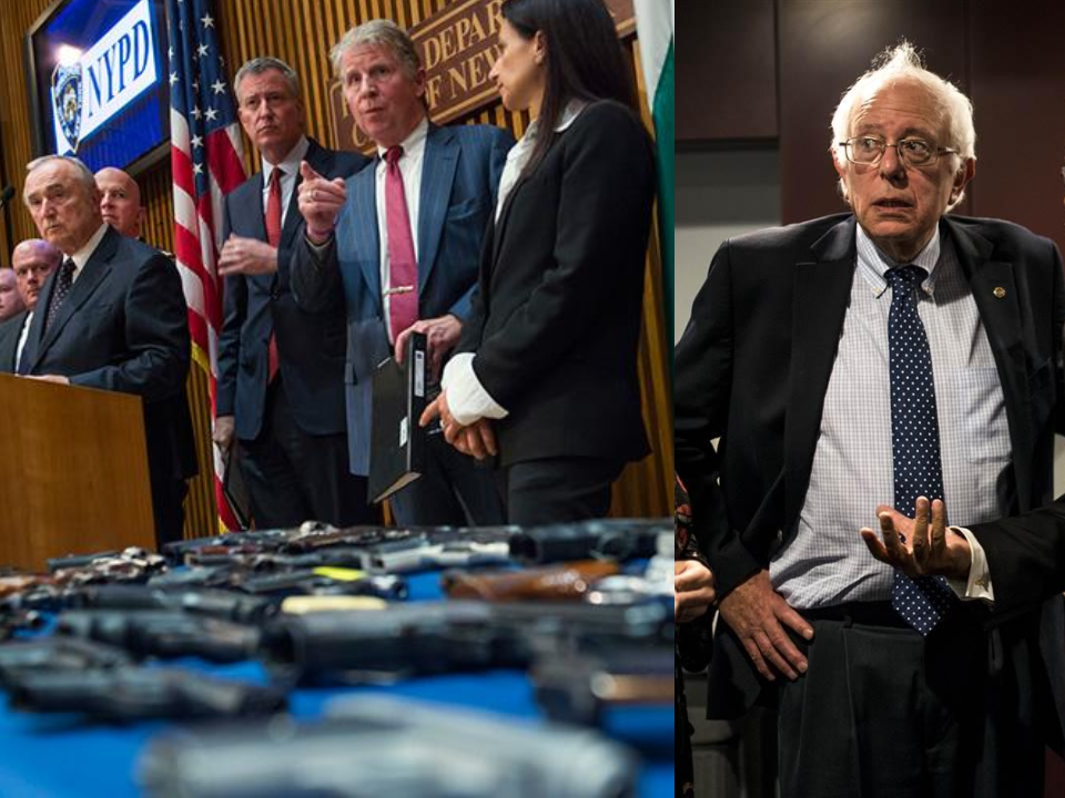 Left: Leaders in New York hold a press conference on gun trafficking. Right: Bernie Sanders.