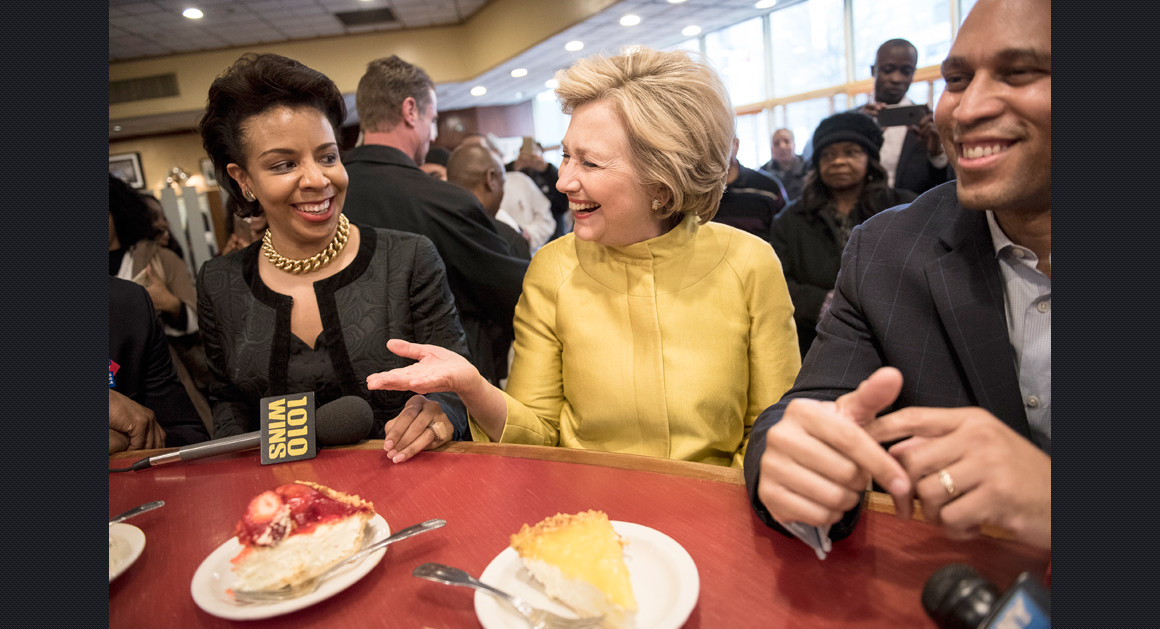 Hillary Clinton successfully avoids the temptation of cheesecake. Photo from politico.com.
