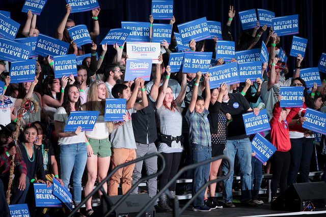 Bernie Sanders Supporters by Gage Skidmore, licensed under  CC BY 2.0