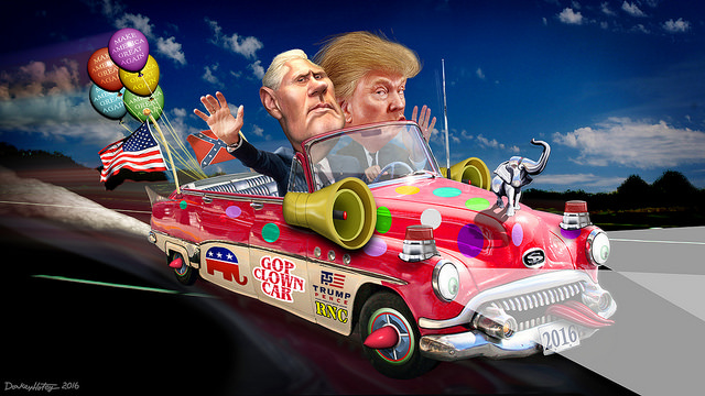 By DonkeyHotey - Flickr: Trump-Pence Clown Car 2016, CC BY-SA 2.0, http://bit.ly/2uq3T7P