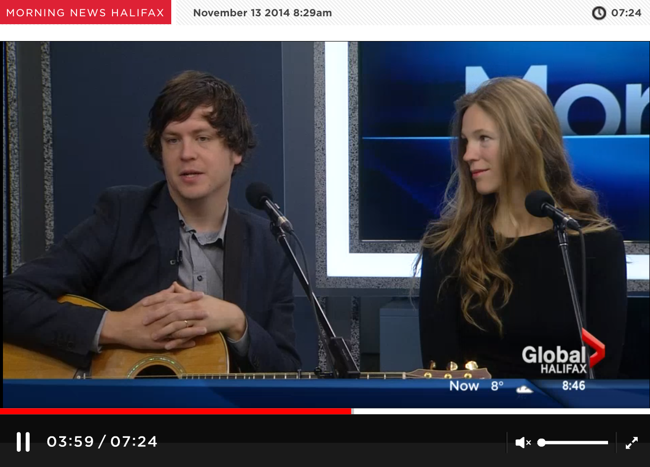 Dan MacCormack performs on Global News Morning News Halifax . November 13, 2014.