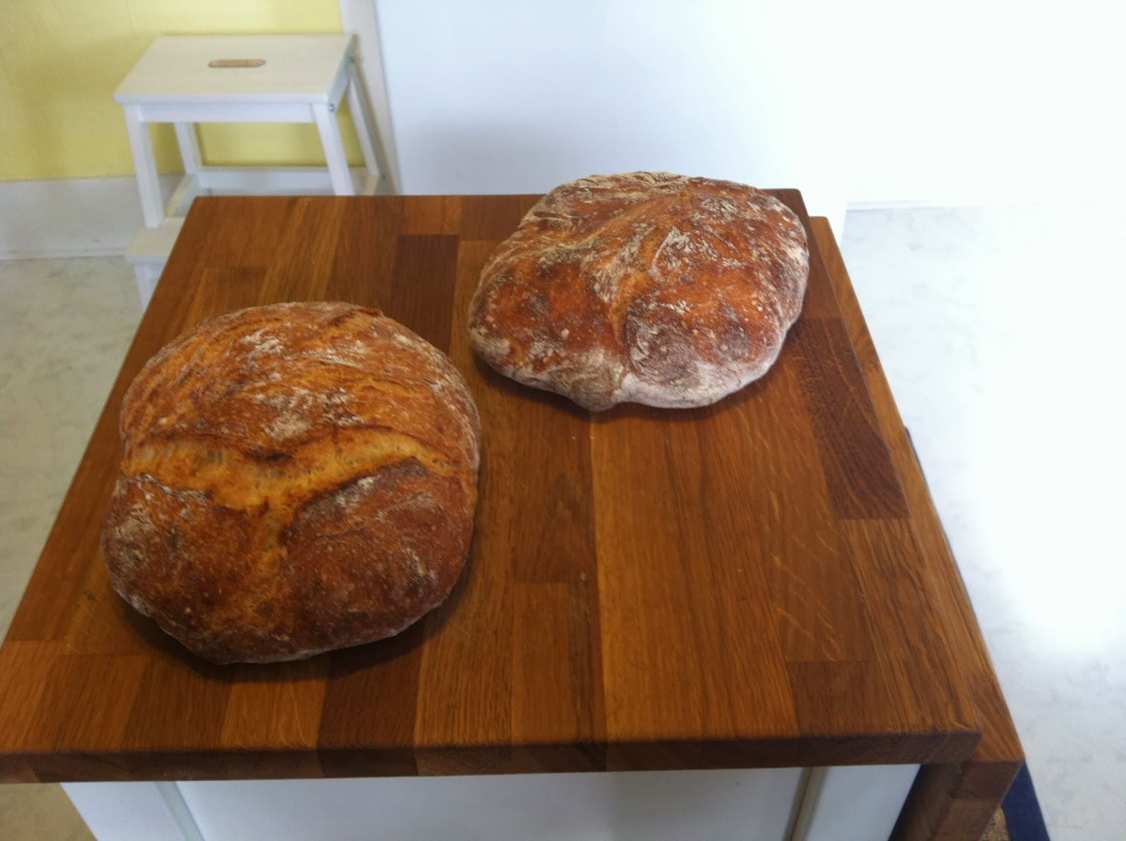 Note how the loaf on the right hasn't risen nearly as much as the one on the left