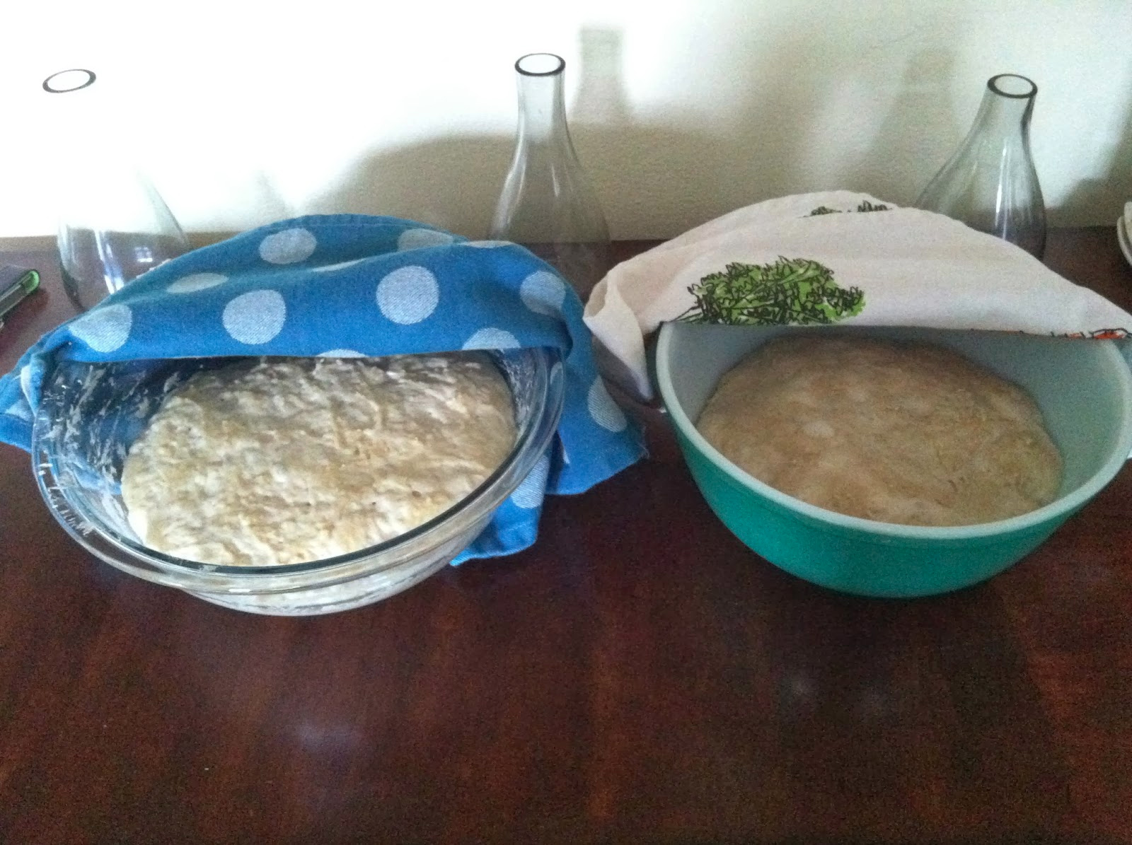 The bowl on the right is the wrong flour, the one on the left is the correct flour