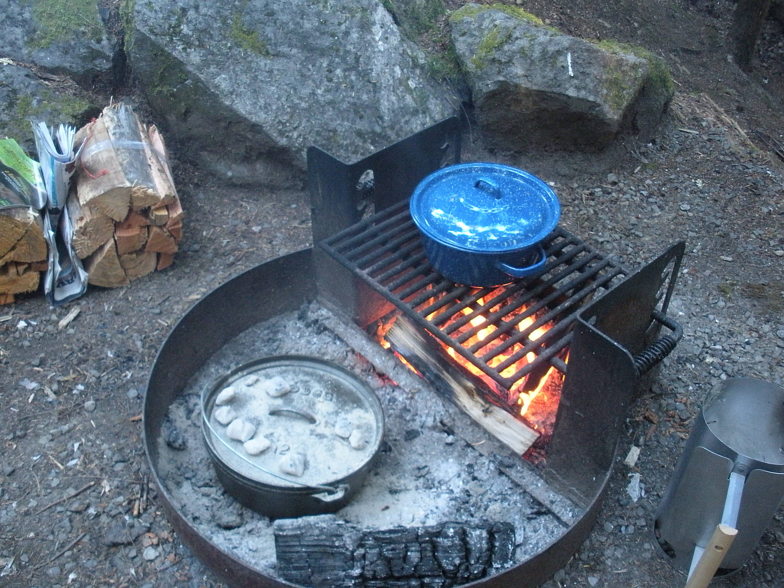 Cooking dinner on Friday night. On the menu: chili, dutch oven cornbread, and s'mores