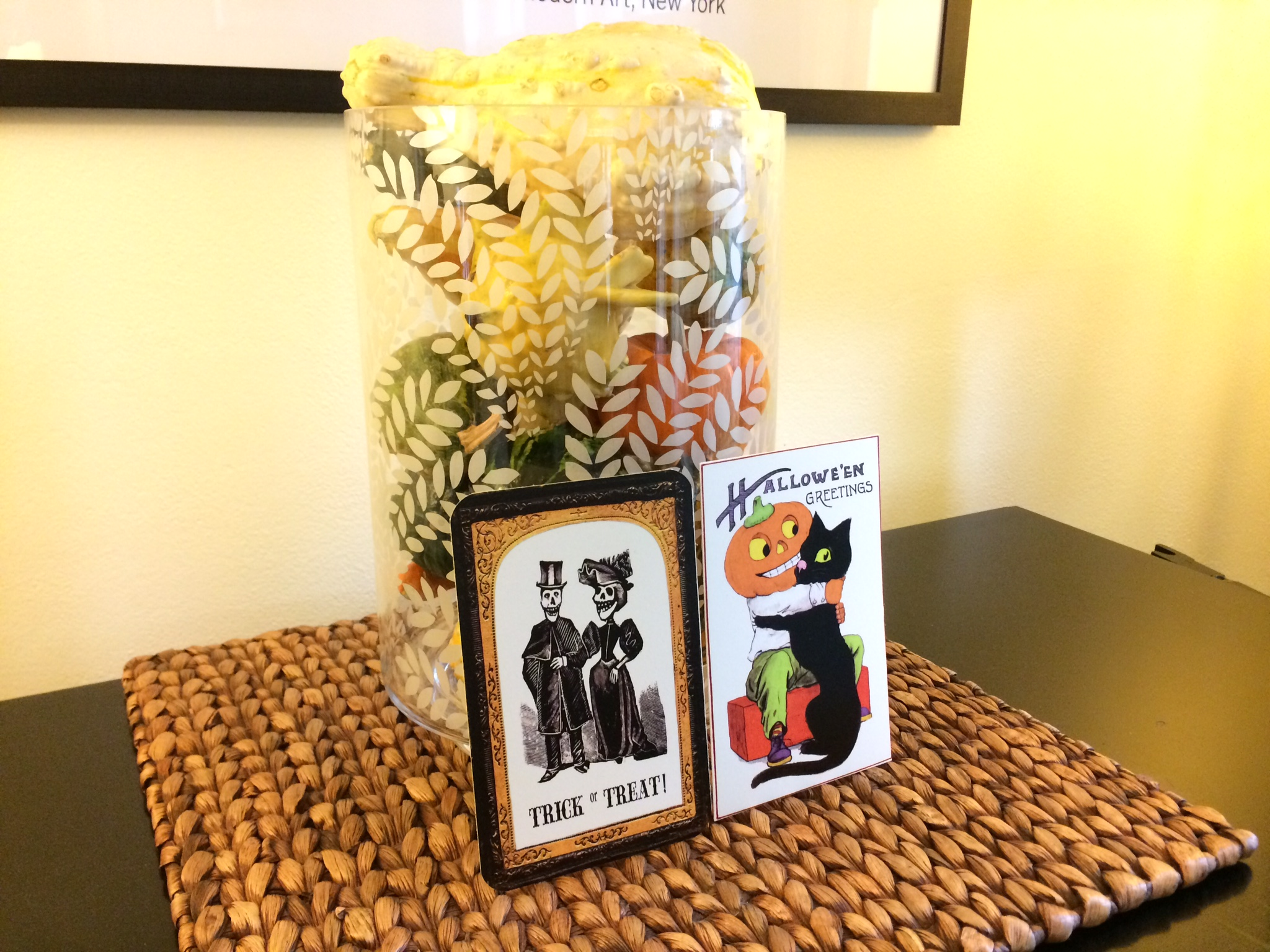 Fill any clear vessel with small harvest squash, pine cones or other fall colors. I love having pieces that can do many seasons and styles, everyone does double duty at Chez Betty