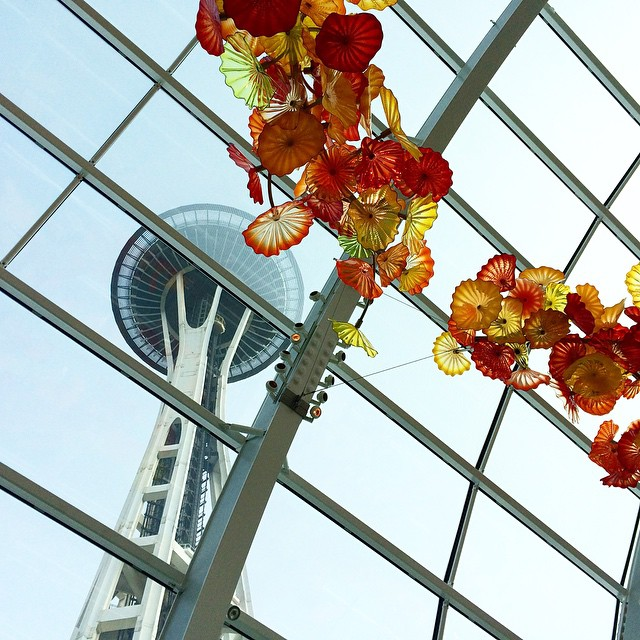 View of the Space Needle from the Chihuly Garden and Glass, where we had our final Exhibit Design class
