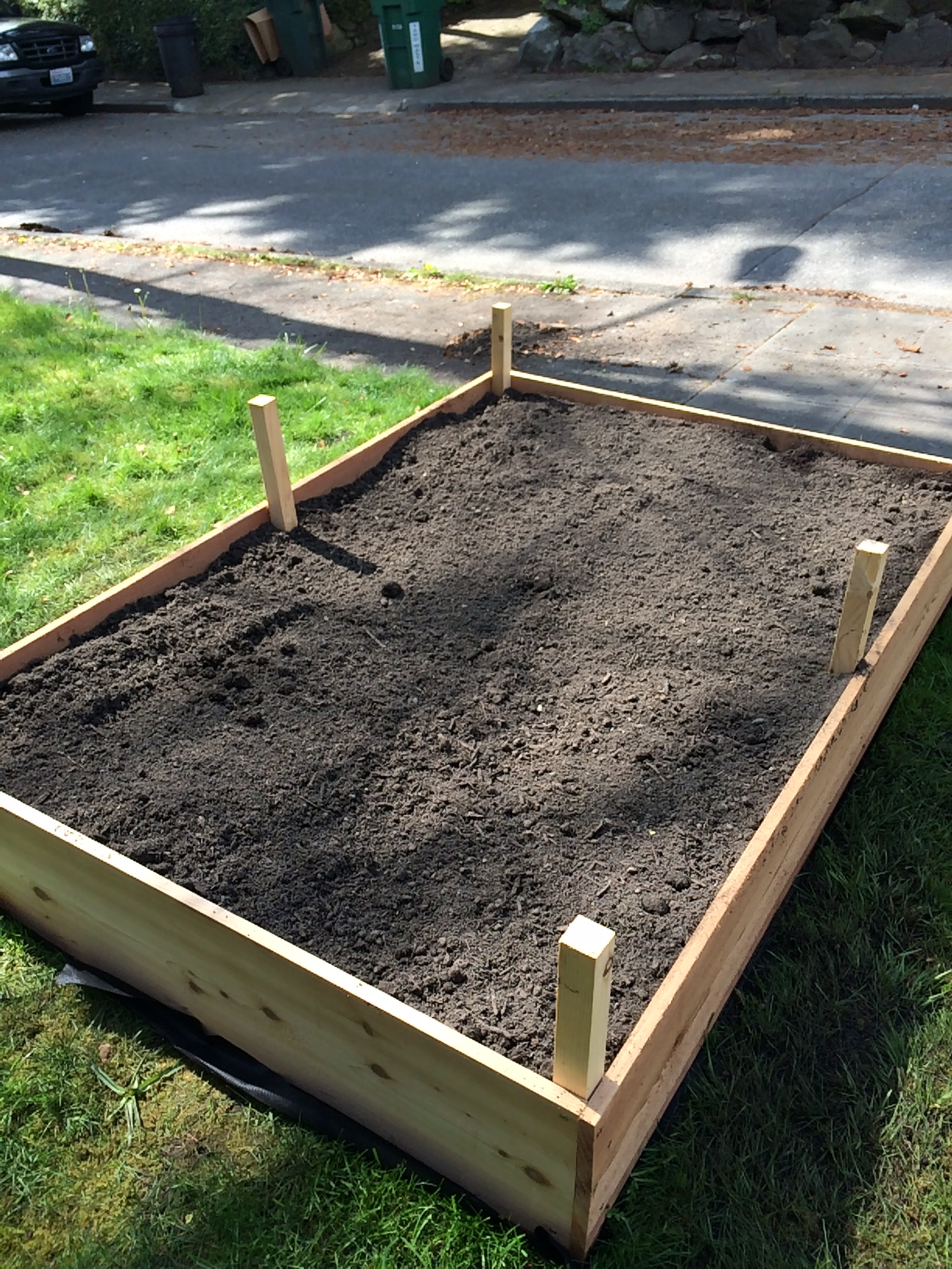 It takes a LOT of soil to fill a box like this and raking it in is not for the faint of heart, but OH SO WORTH IT