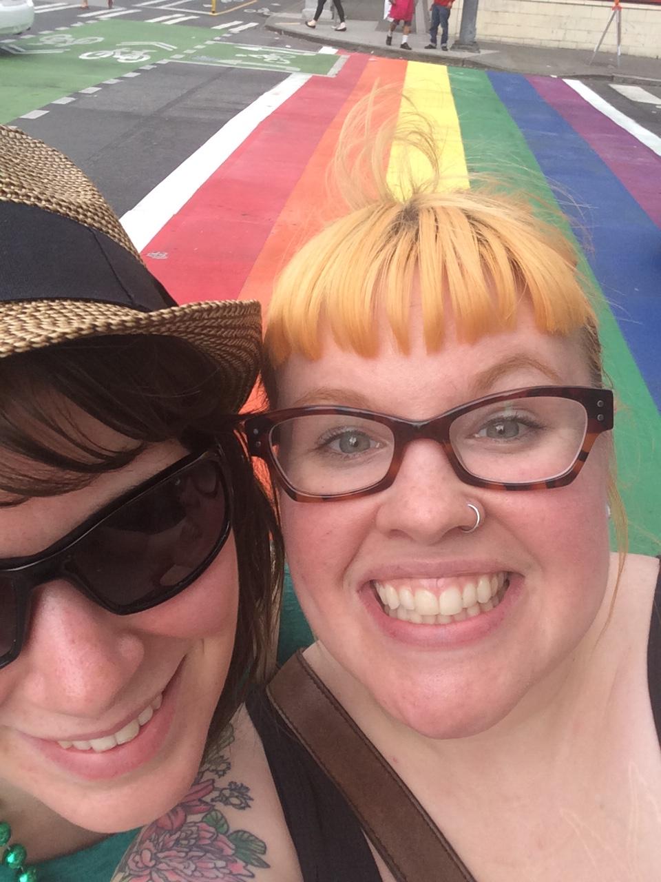 Selfie with Capitol Hill's rainbow sidewalks