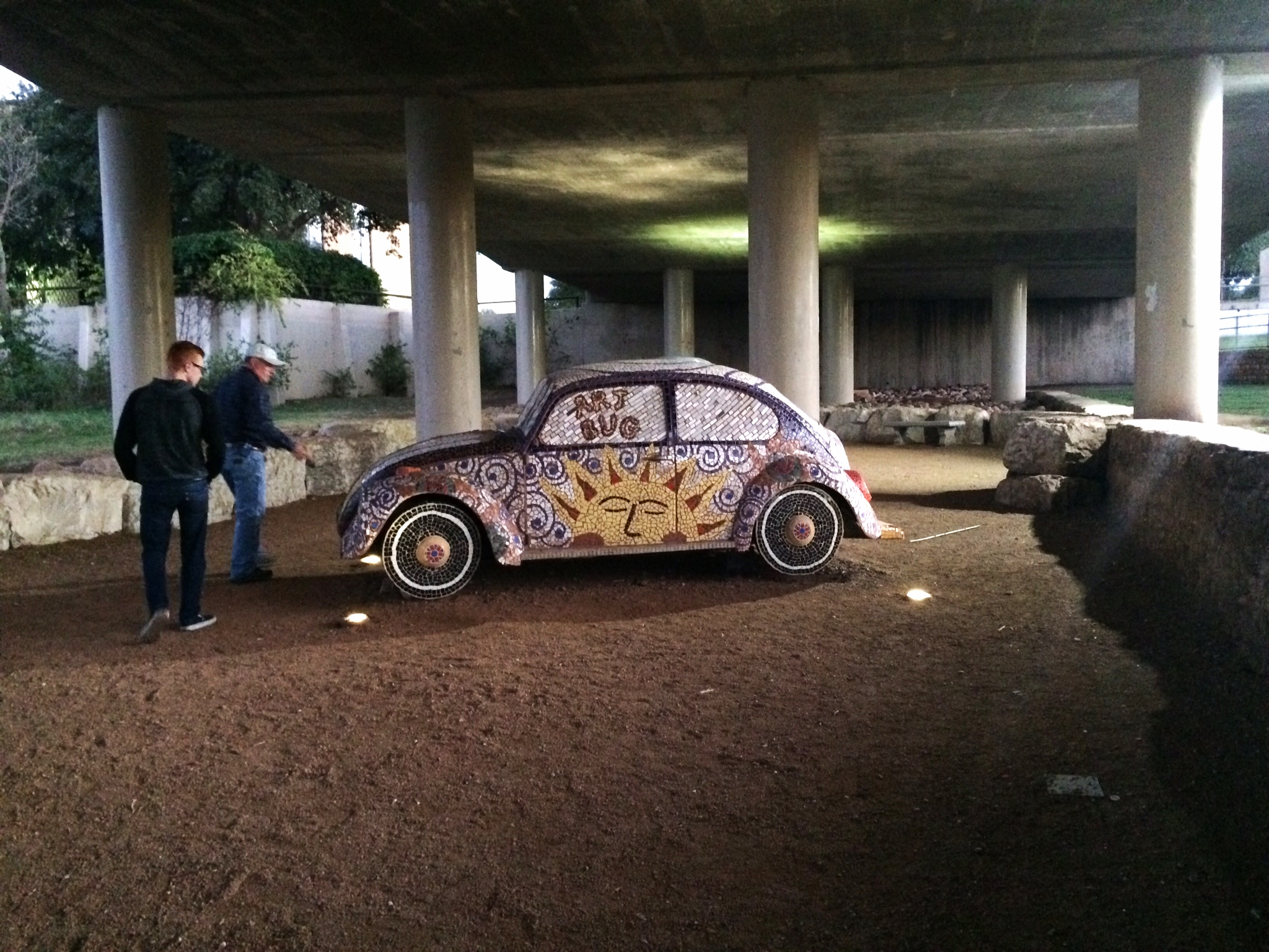 Public art under bridges along the riverwalk-- literally a mosaic'd VW bug. So. Cool.