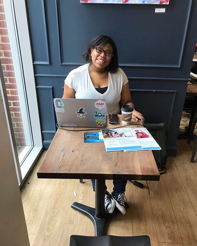 Our amazing Capital One representative, Chelsea, here for coffee chats with our members!