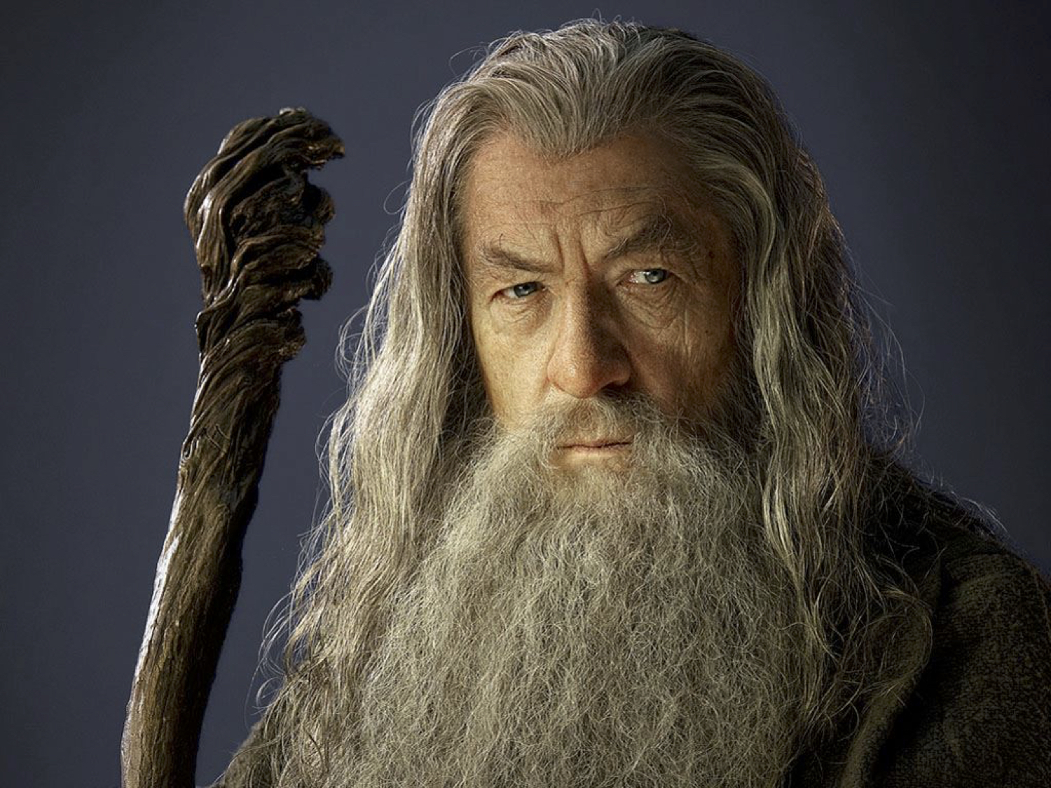 Gandalf, wise wizard. You can tell because of his beard. And staff.