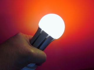 This LED A-lamp (eco-story.com) becomes yellower in color when dimmed.