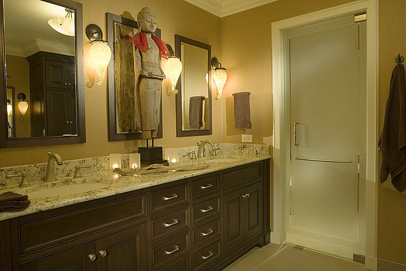 Bath and Vanity: Wet location-rated recessed LED fixtures by Cree Lighting illuminate tub. These LED's rated for 50,000 hours and are dimmable; CFL's may burn out prematurely when enclosed, as in these sconces by Metro Lighting, but Maxlite makes a CFL specifically for enclosed fixtures.
