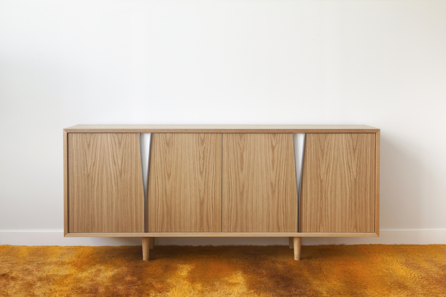 Wynd Writing Deskin White Oak, Lacquered Steel, White Satin Lacquer