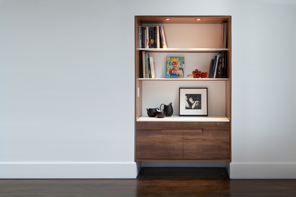 Great Jones Library / Bookcase in Walnut and White Corian