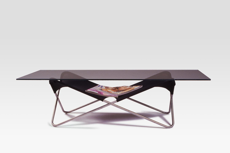 Locust Coffee Table in Satin Nickel, Black Nylon, Tempered Glass.