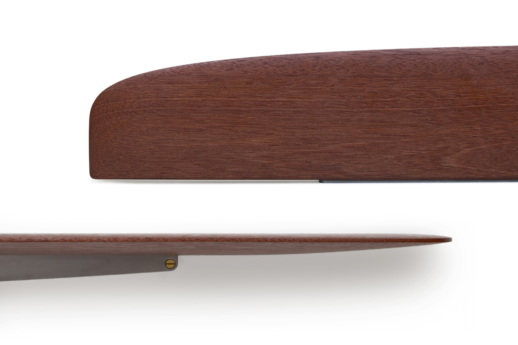Propeller Shelves in Mahogany and Satin Lacquer Steel