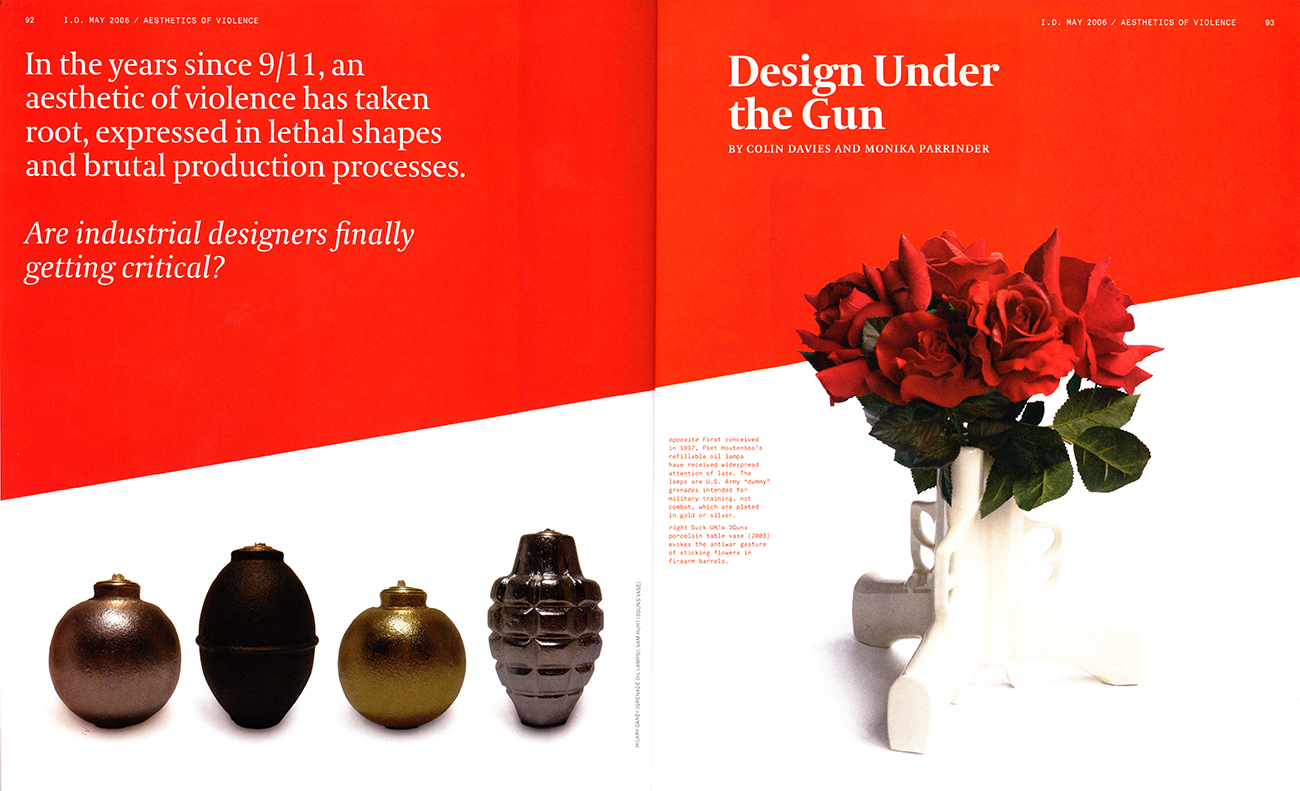 """The Hand Grenade Oil Lamps make it to the front of an 8 page article titled """"Design Under the Gun"""" in ID Magazine."""