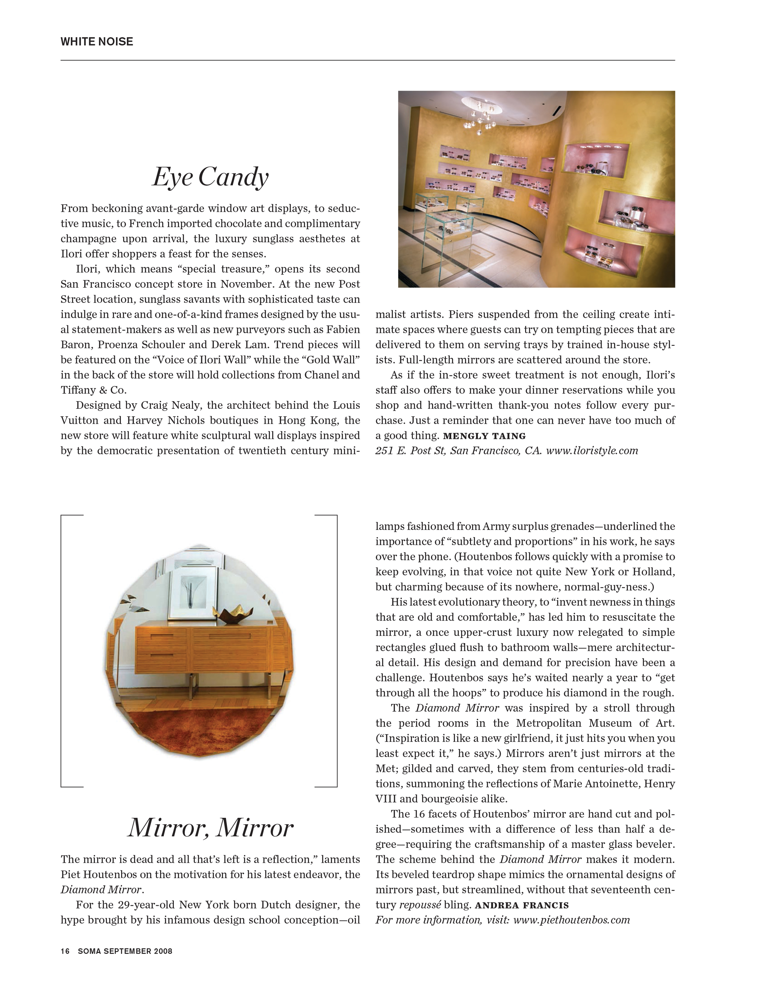 The Diamond Mirror featured in Soma Magazine.