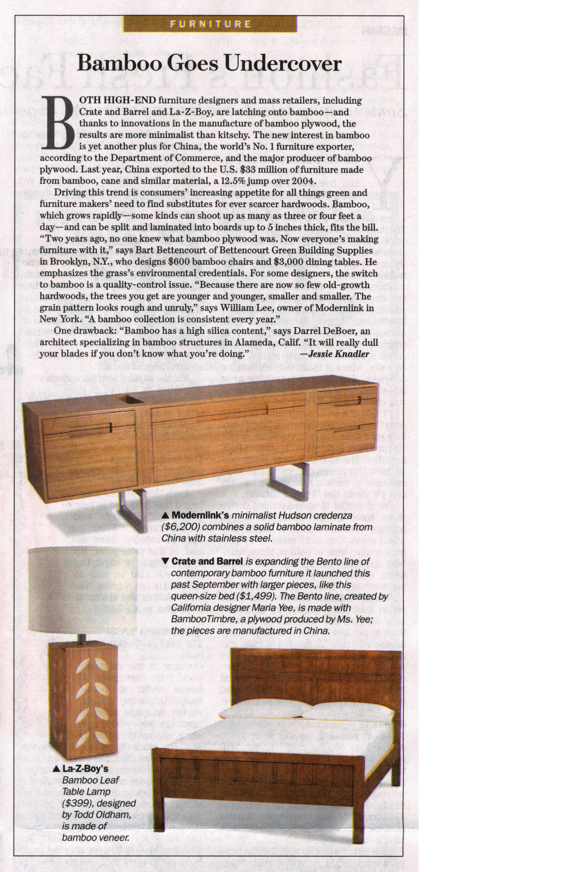 """Modernlink's Onelink Collection designed by Piet Houtenbos highlighted in an article titled, """"Bamboo Goes Undercover"""" by Jessie Knadler for the Wall Street Journal."""