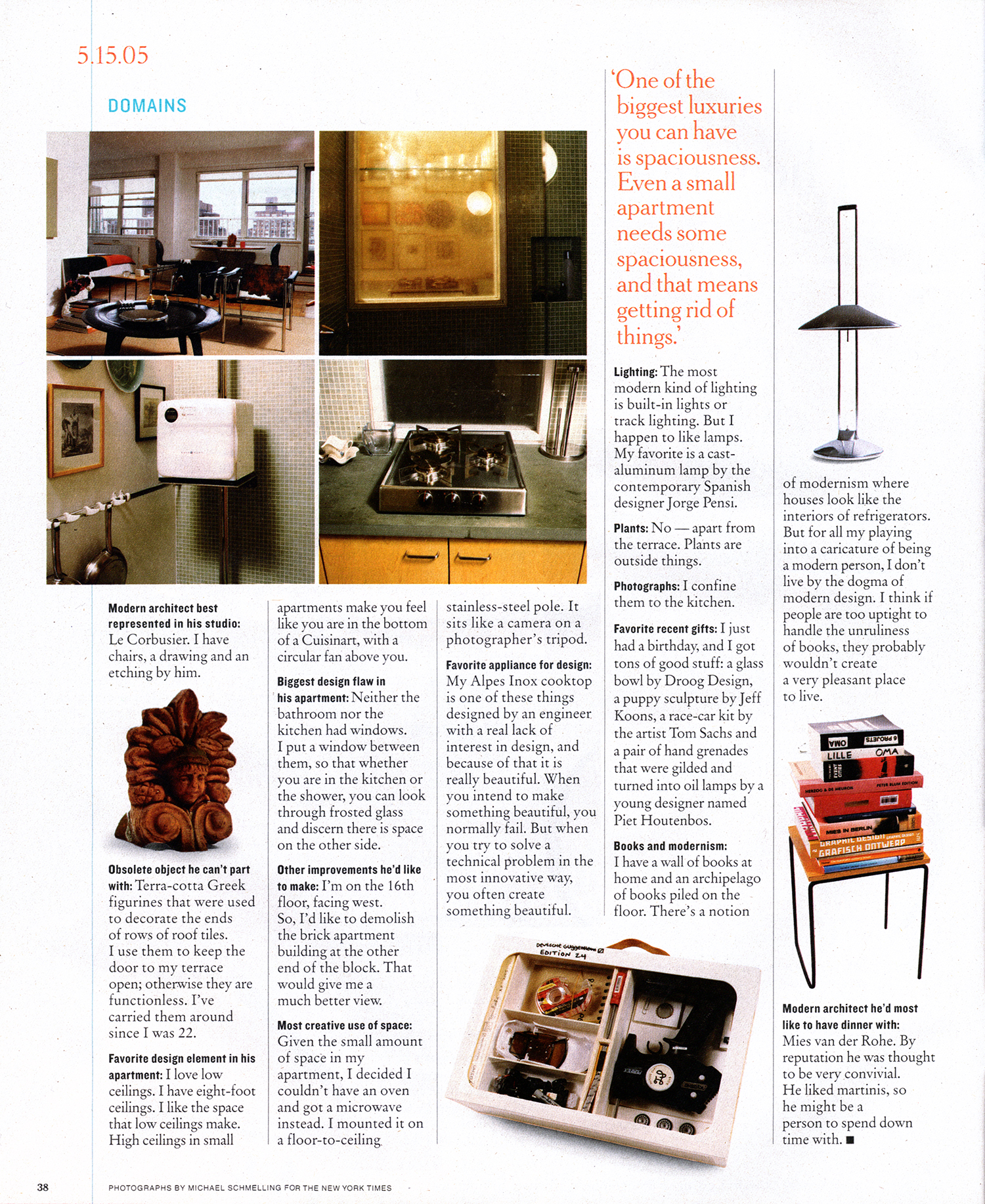 Terrence Riley mentions Piet Houtenbos' gilded Hand Grenade Oil Lamps as one of his favorite recent gifts.