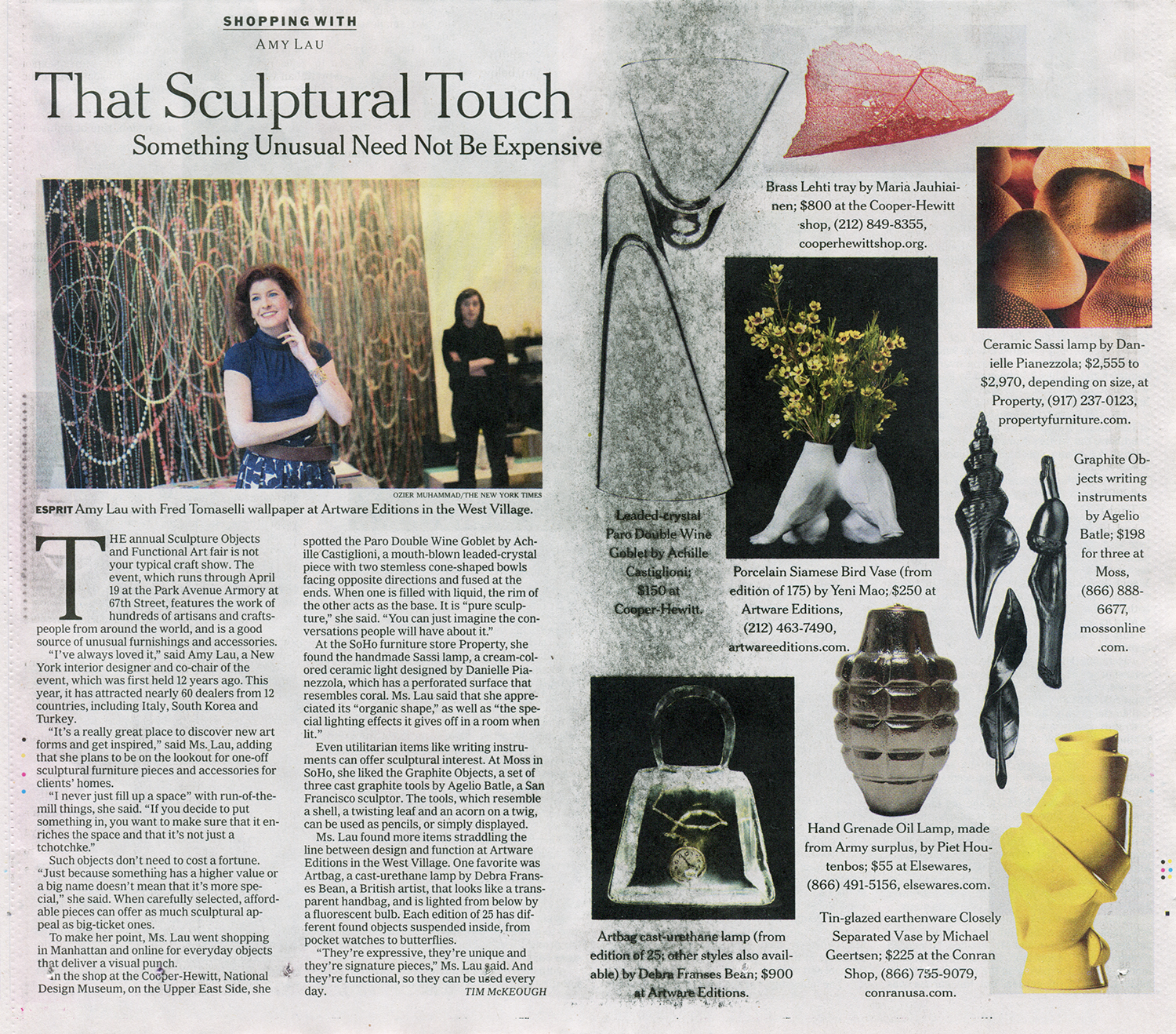 """A silver Hand Grenade Oil Lamp picked for """"That Sculptural Touch"""" Shopping article with Amy Lau."""