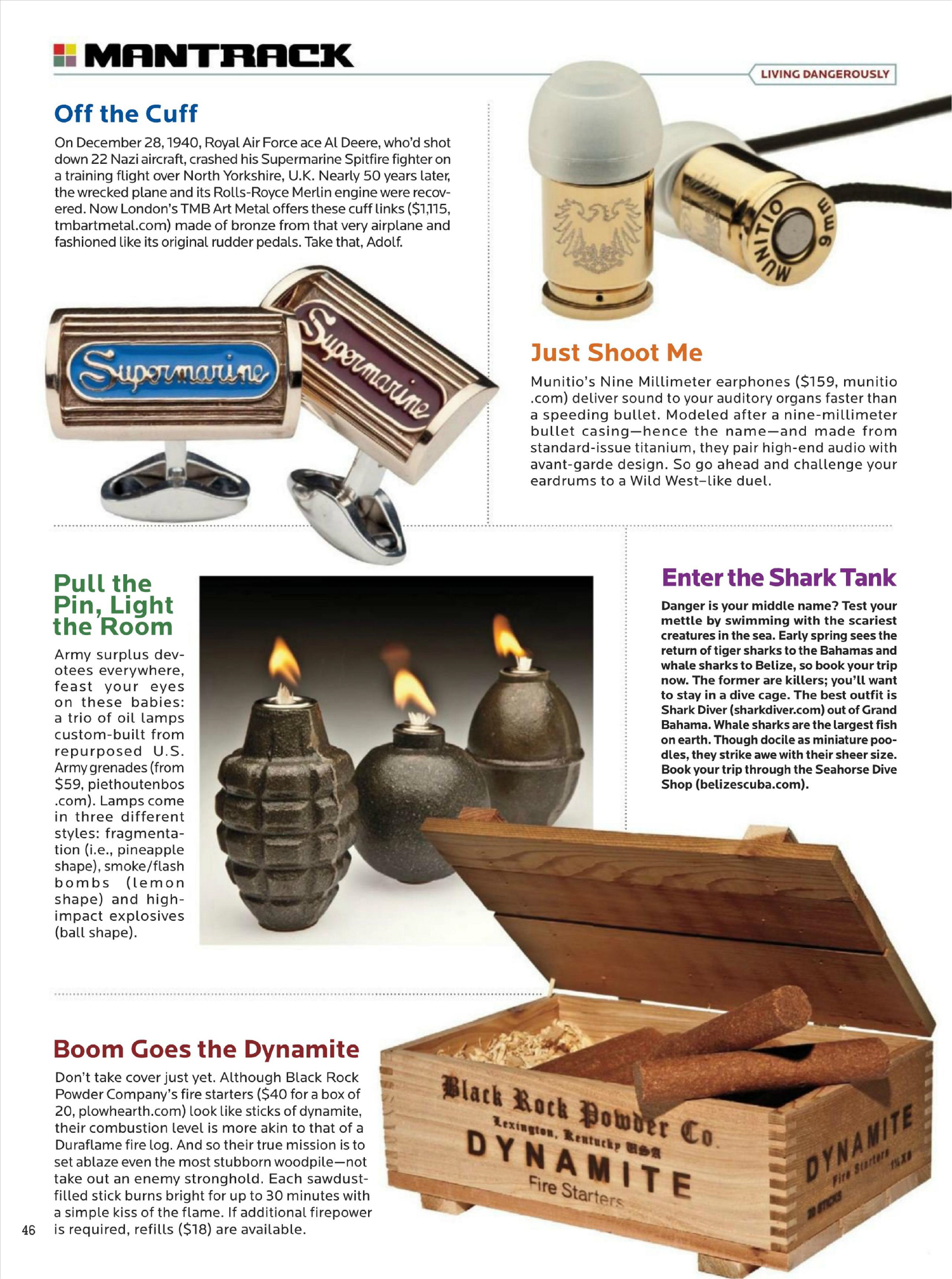 Pull the pin, light the room. A natural set of Hand Grenade Oil Lamps featured in Playboy's Mantrack section on a series of products for 'Living Dangerously'.