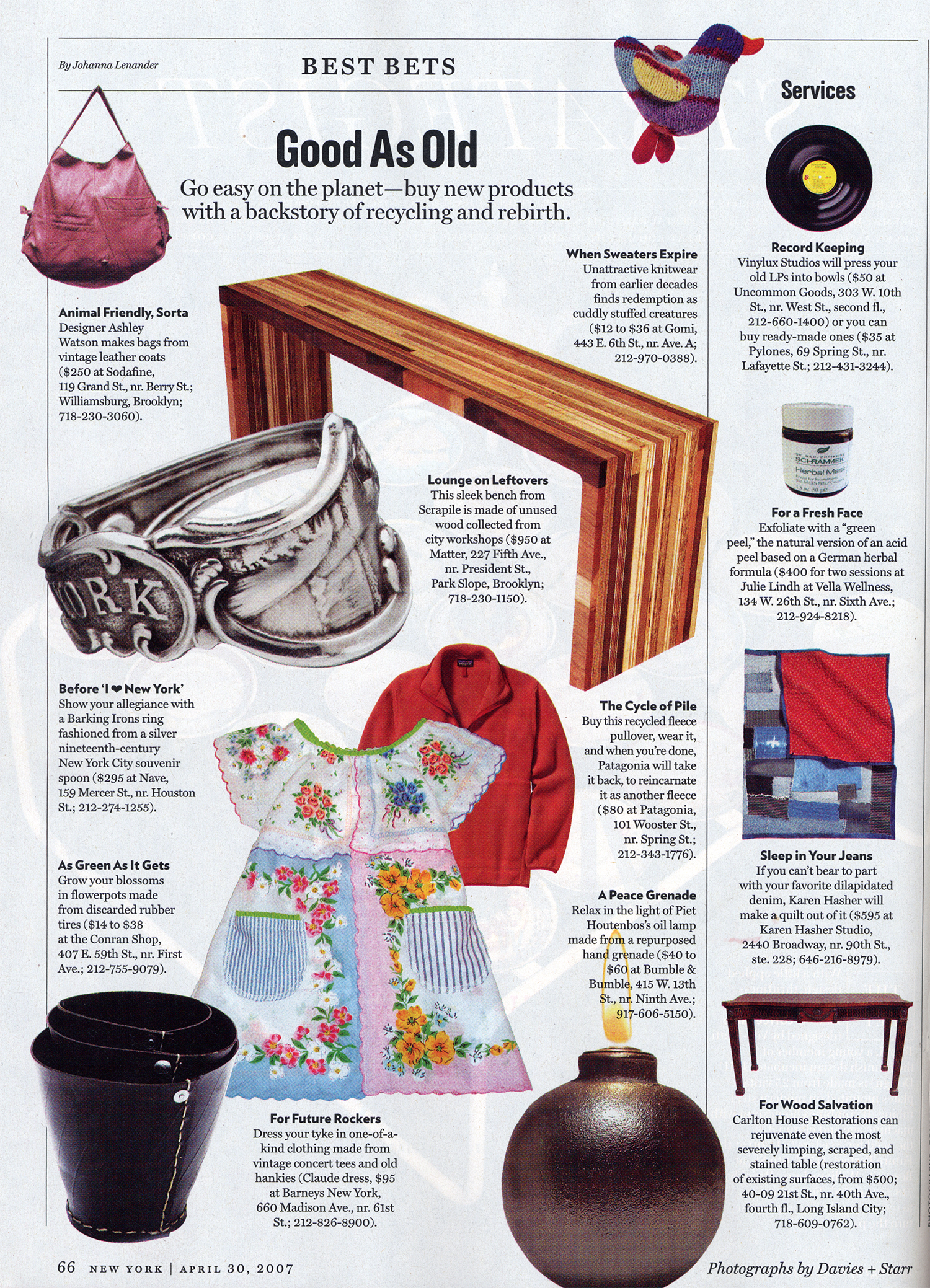 Hand Grenade Oil Lamps featured in New York Magazine's 'Best Bets' section.