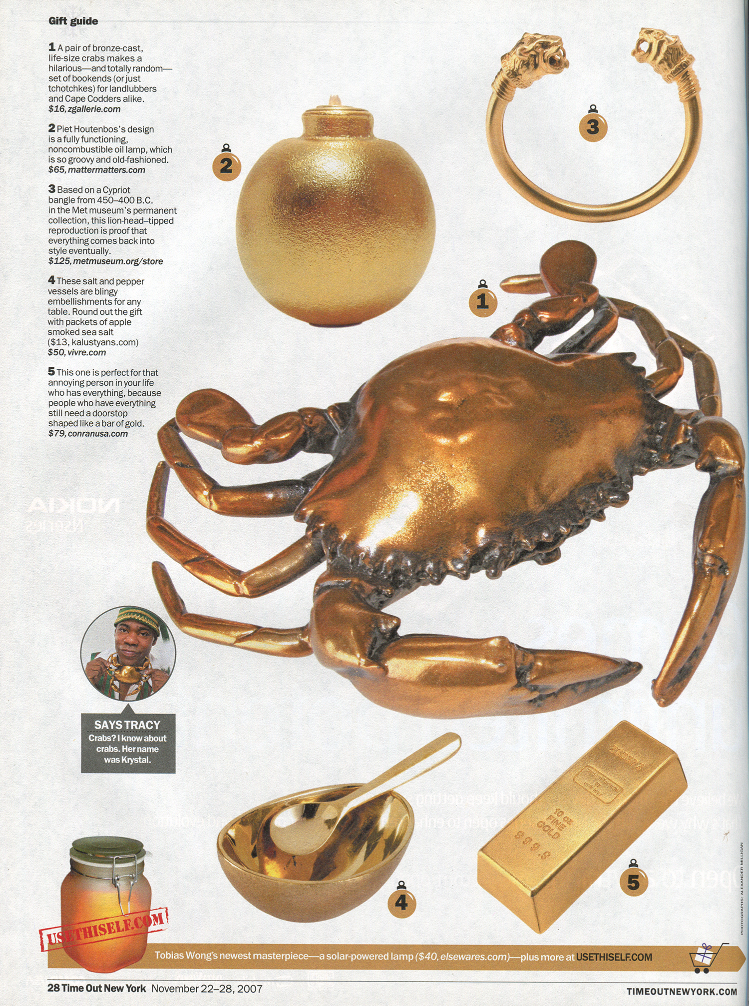Gold Grenades!  Tracy Morgan loves everything gold and makes some suggestions for Time Out New York's holiday gift guide.