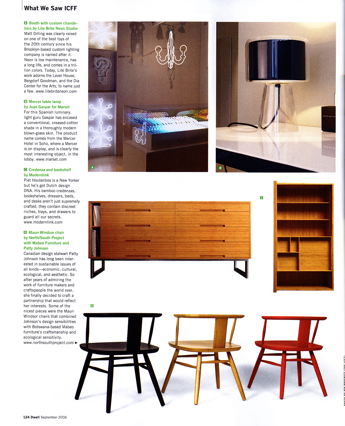 Modernlink's bamboo 'Melina' dresser and its drawer detailing designed by Piet Houtenbos featured in Dwell Magazines wrap-up of the International Contemporary Furniture Fair.