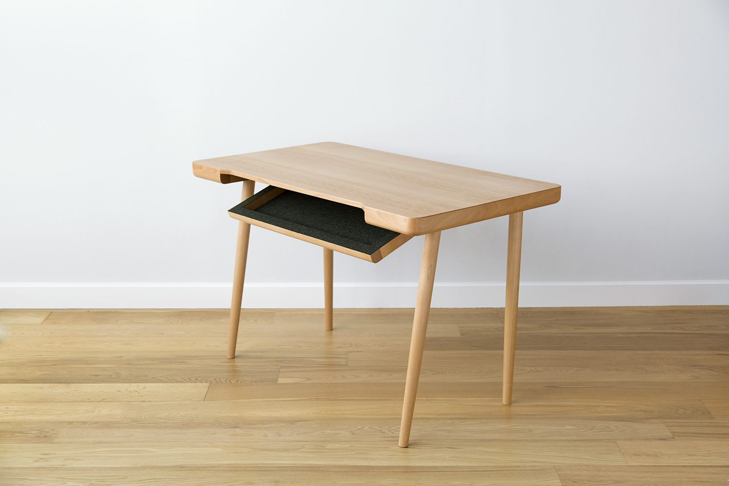Wynd Writing Desk in European Beech with Thin Drawer Flap