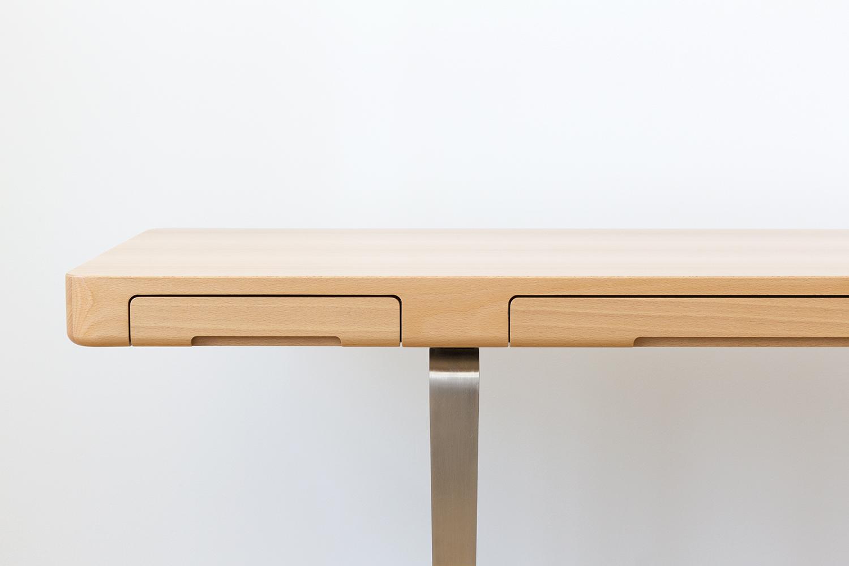 Arnon Home Office Desk in European Beech and Satin Nickel