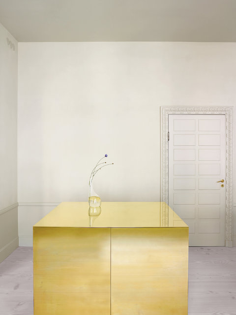 In the kitchen of a Stockholm apartment designed by the architects Claesson Koivisto Rune, a cabinet clad in brass functions as a work surface and a storage space.   Credit Henry Bourne