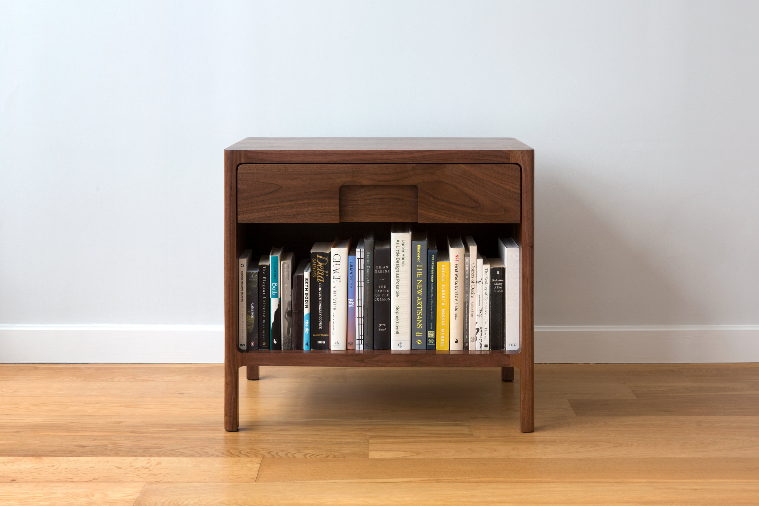 Cobb Nightstands in Walnut by Piet Houtenbos