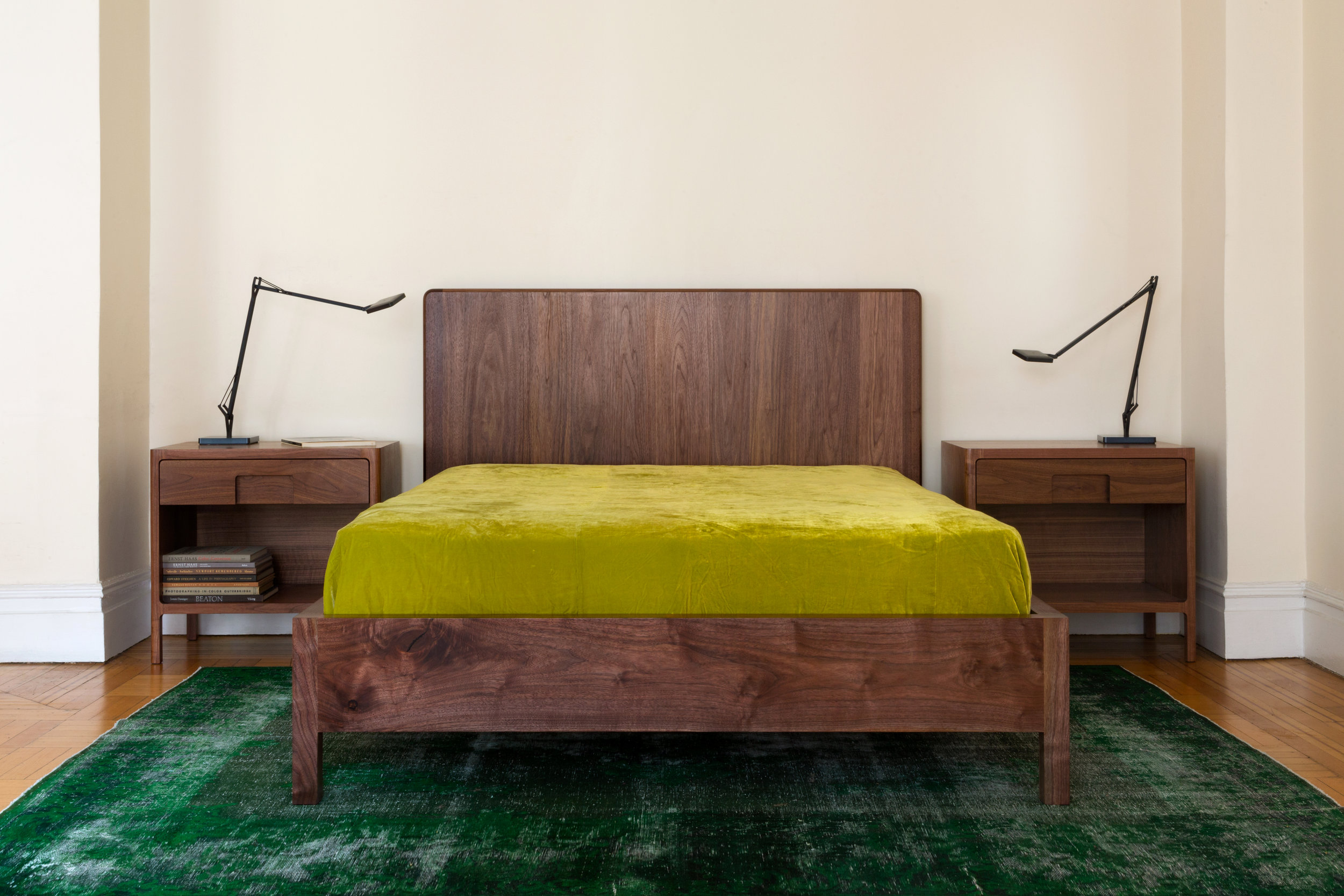 Hayground Bed in Walnut by Piet Houtenbos