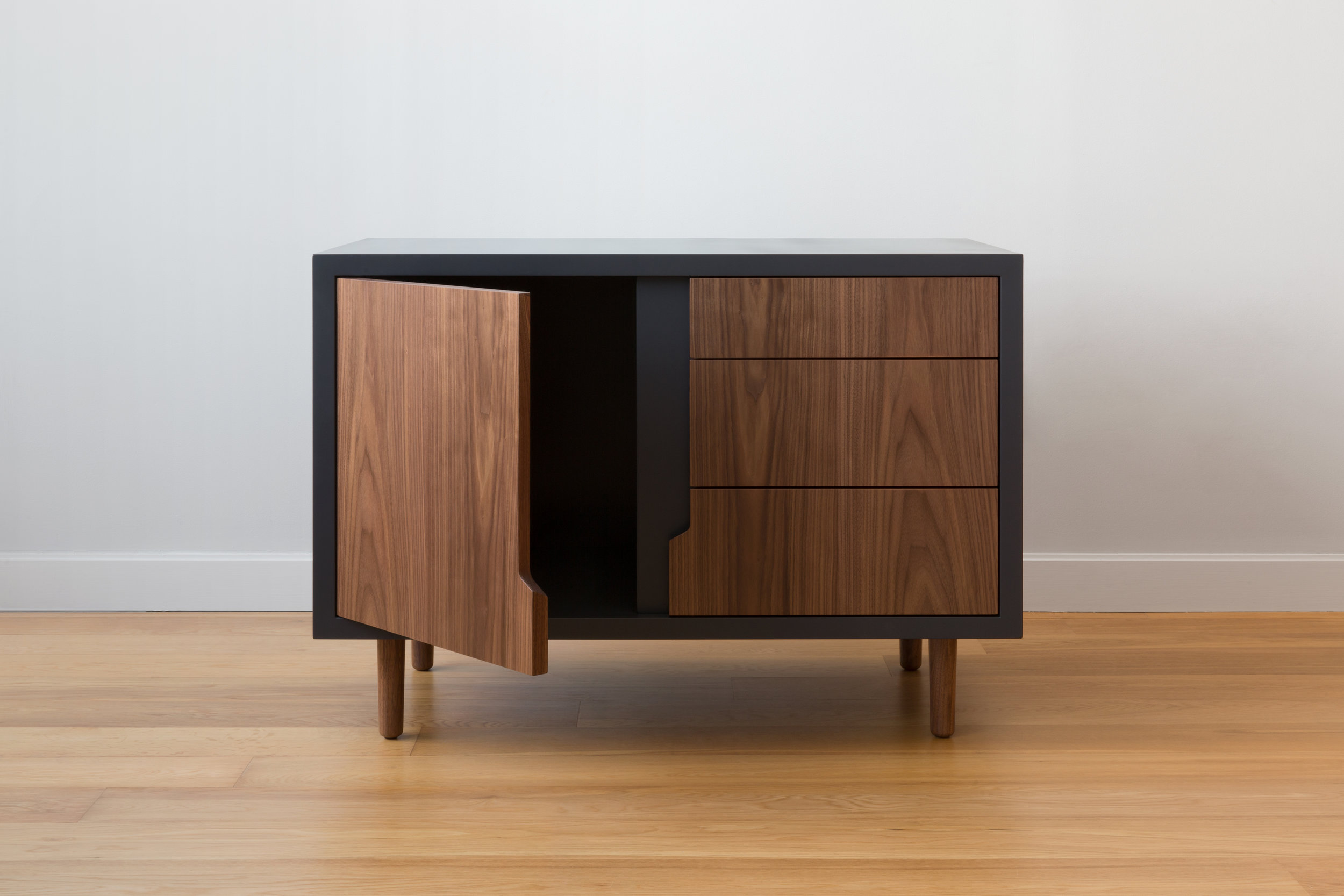 Halsey Sans Cabinet in Midnight Oil Lacquer and Walnut by Piet Houtenbos
