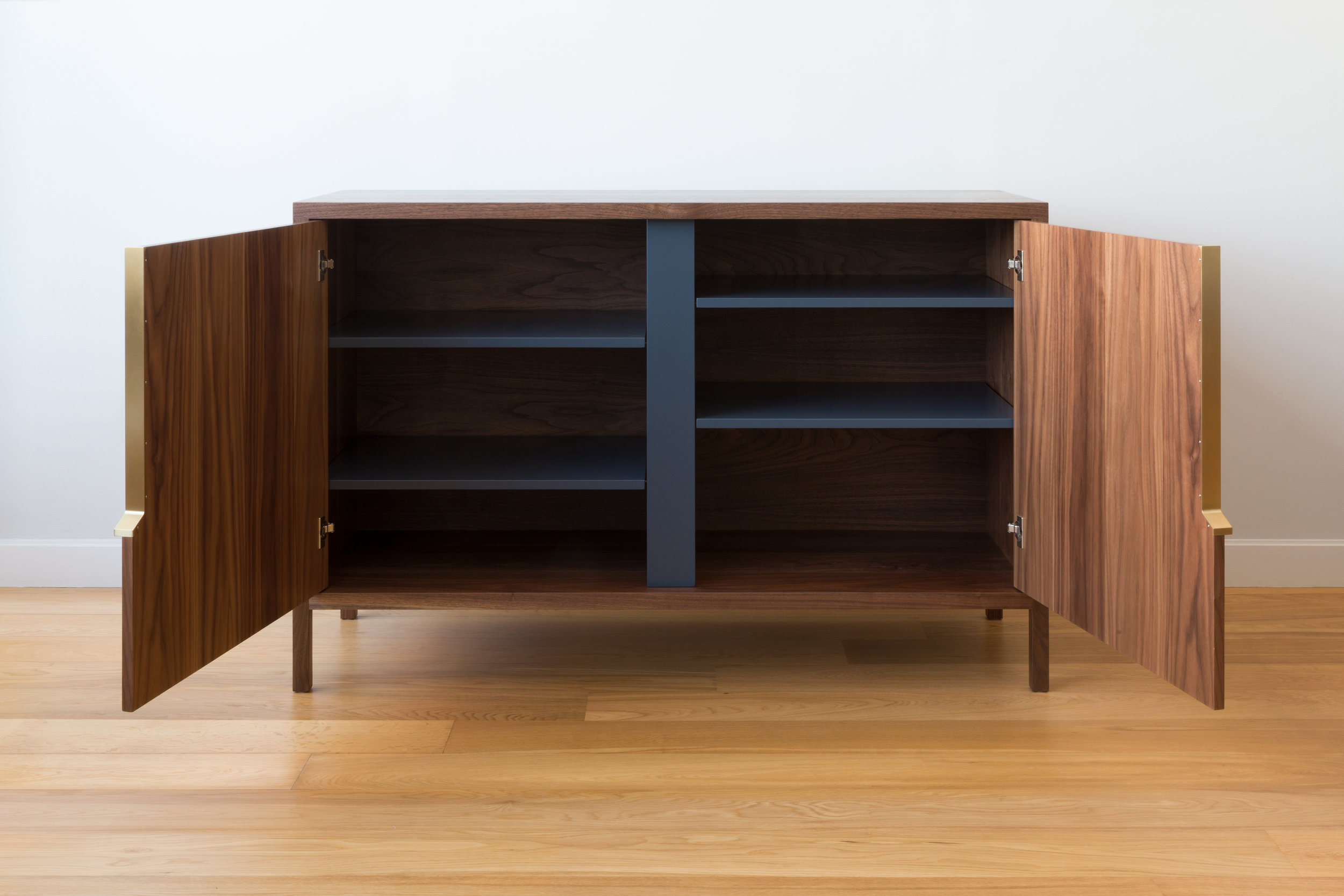 Halsey Cabinet in Walnut, Brass and Westcott Navy Lacquer with Felt Lined Drawers by Piet Houtenbos