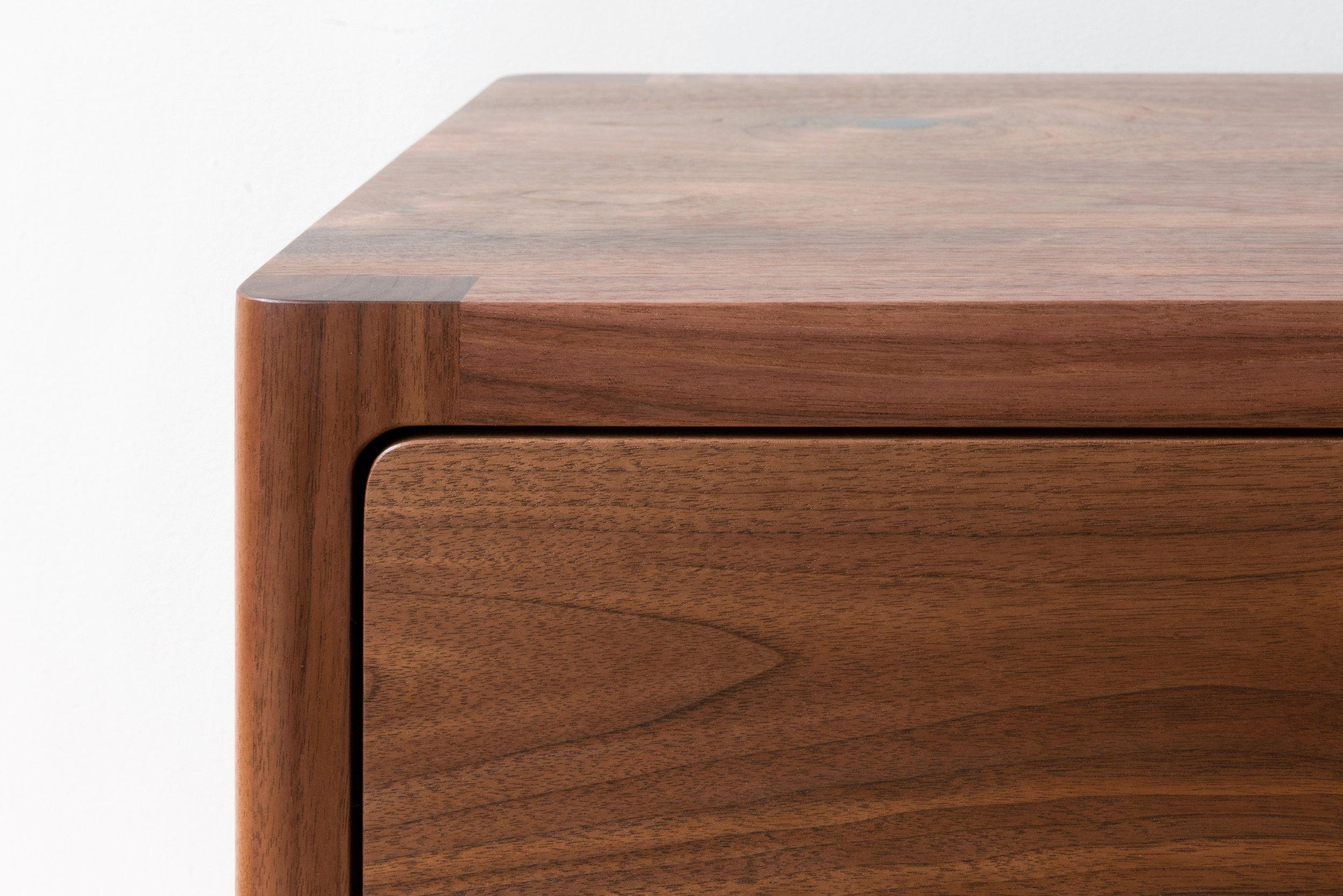 Cobb Cabinet Corner Details in Walnut by Piet Houtenbos
