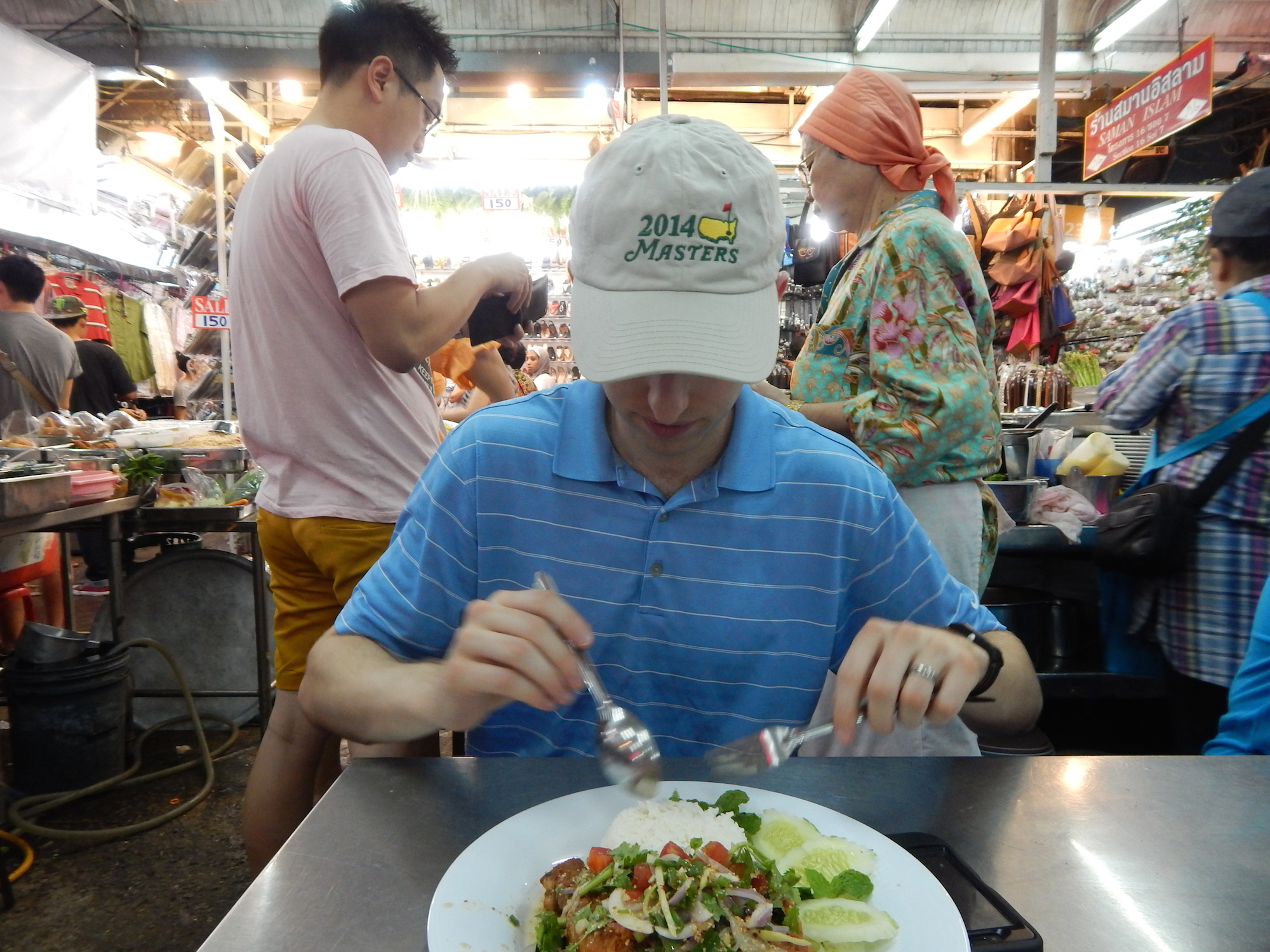 Note that in Thailand it is customary to eat with a spoon in your right hand and a fork in your left