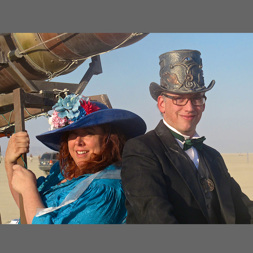 Don Bruce and Tracy Feldstein, aka Lord and Lady Inebria. Fabulous tinkerers and tincture makers. Built the Ark of Inebriation and several Burning Man art projects.