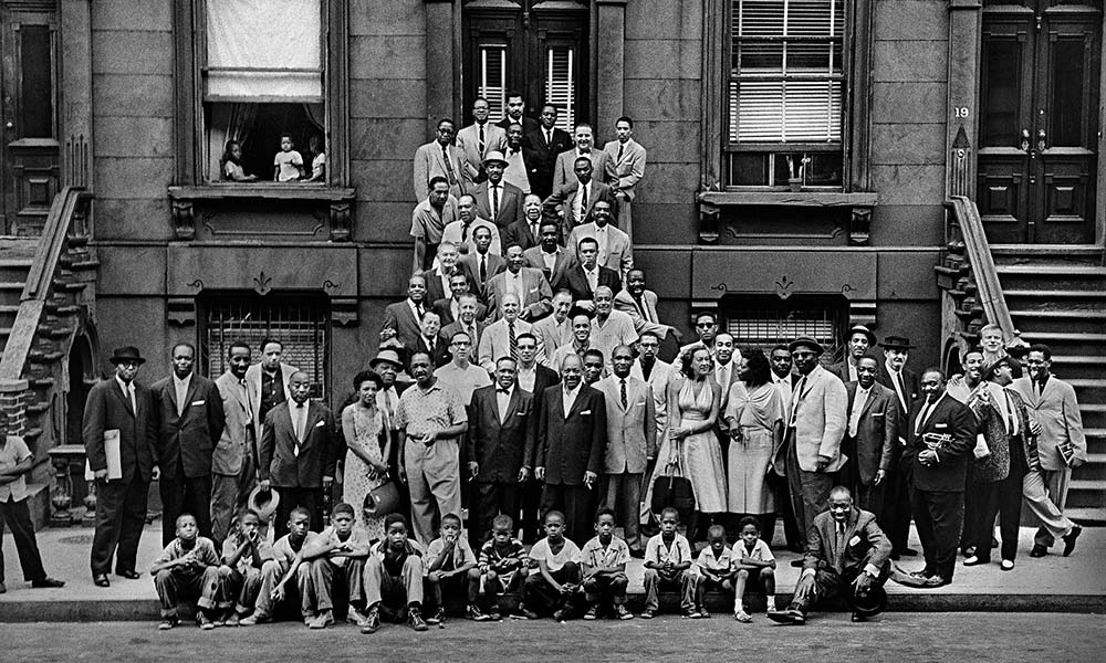 """""""A Great Day In Harlem"""" showing Golson and Rollins (#2 and #44 respectively)   Photograph by Art Kane"""