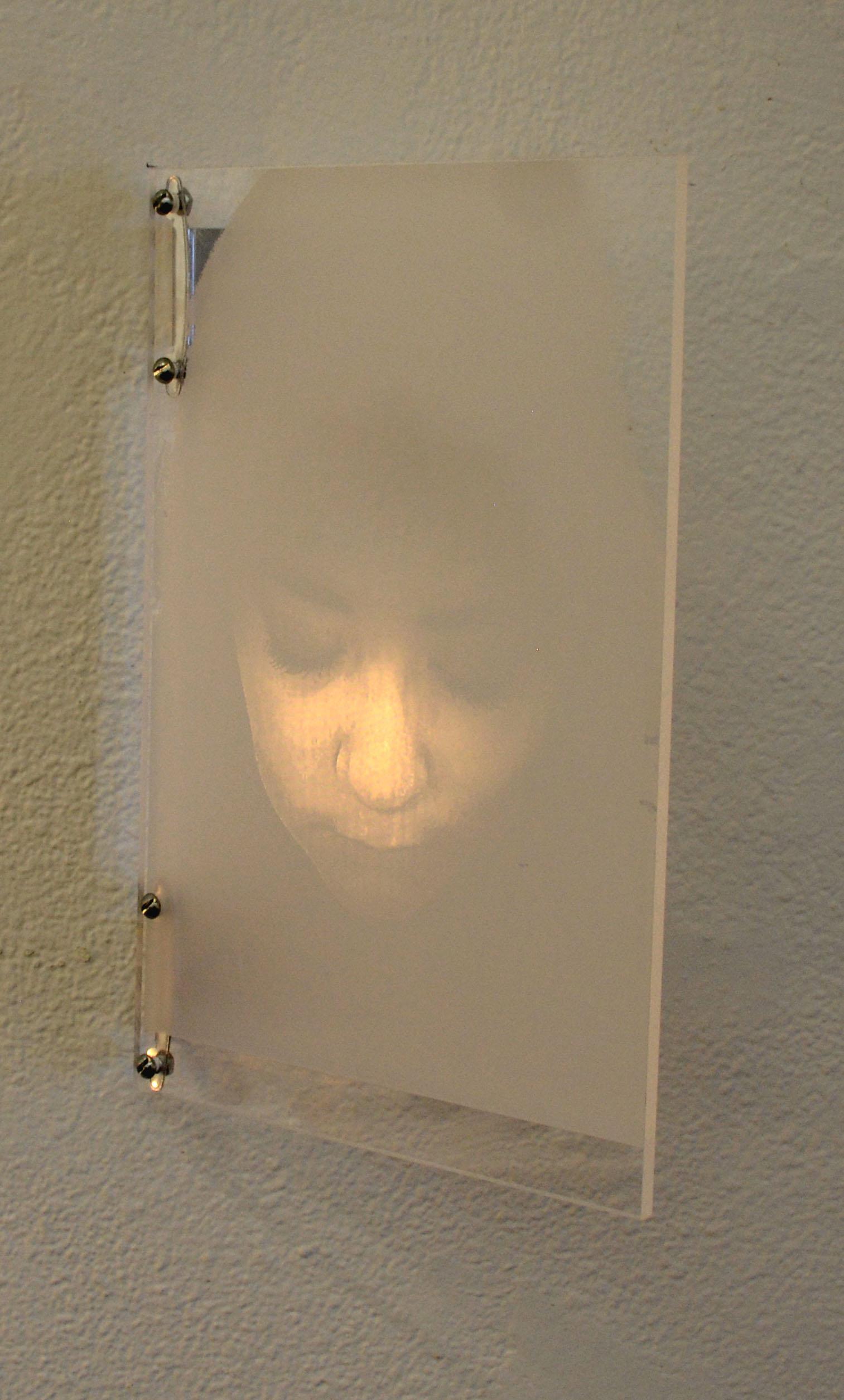 "Precariat Shadow,  2018, laser etching into plexiglass, 8x10"""