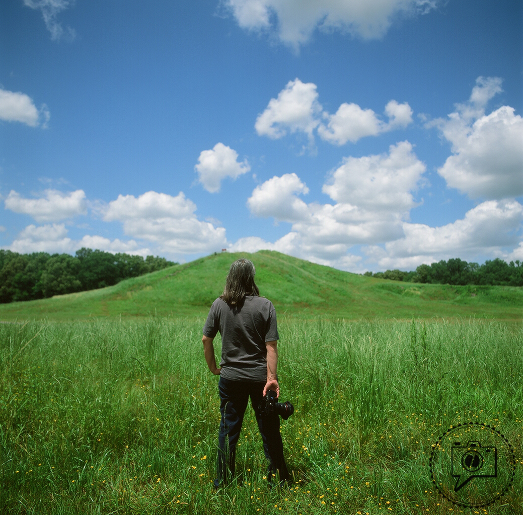 Photographer Jenny Ellerbe at the Poverty Point mound. ©Zack Smith Photography 2015