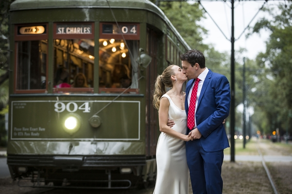 Katja and Alex's timing on St. Charles is perfect, just like their wedding was. ©2015 Zack Smith