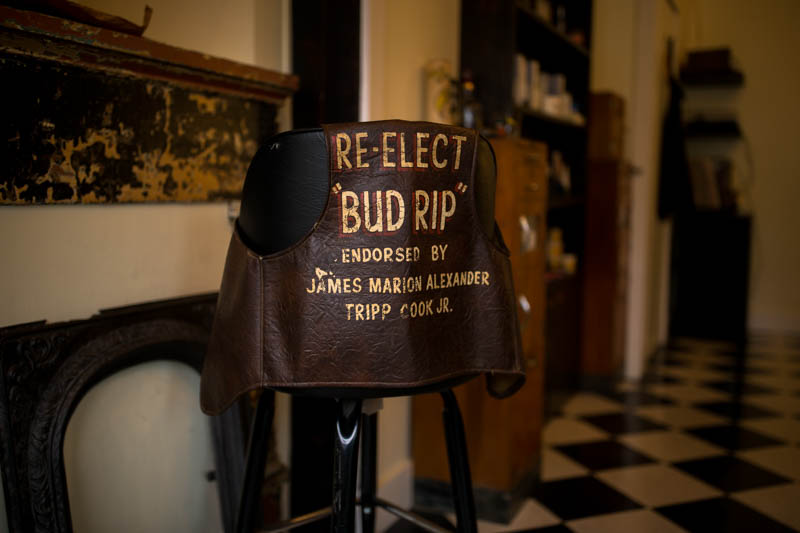 Zack-Smith-Photography-New-Orleans-jason-Barber-Shop-Bywater-Documentary-leather-vest-Reelect-Bud-Rip-endorsed-by-james-Marion-Alexander-Tripp-Cook-Jr.