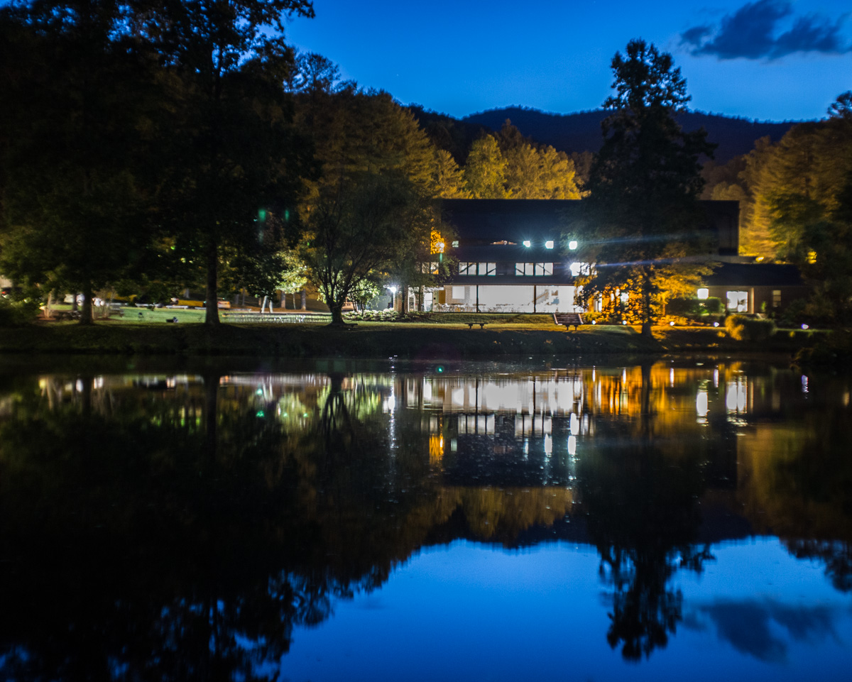 Zack Smith Photography North Carolina Brevard School of Music Center beautiful pond reflection trees woods dark blue skies
